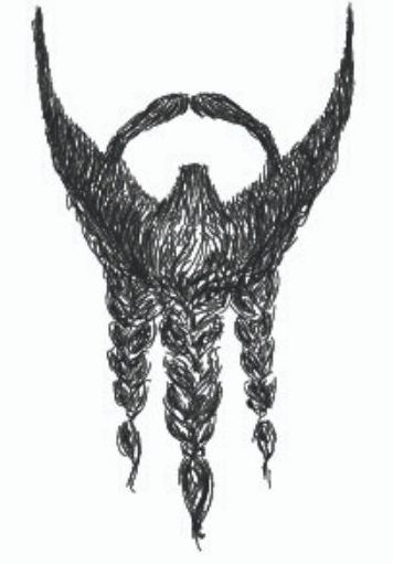 trident braided goatee drawing