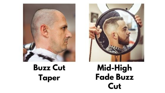Comparison with buzz cut taper vs mid high fade buzz cut