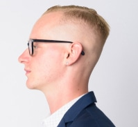 Blond crew cut side profile