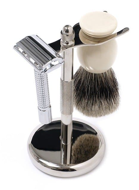 Example of a safety razor with a shaving brush