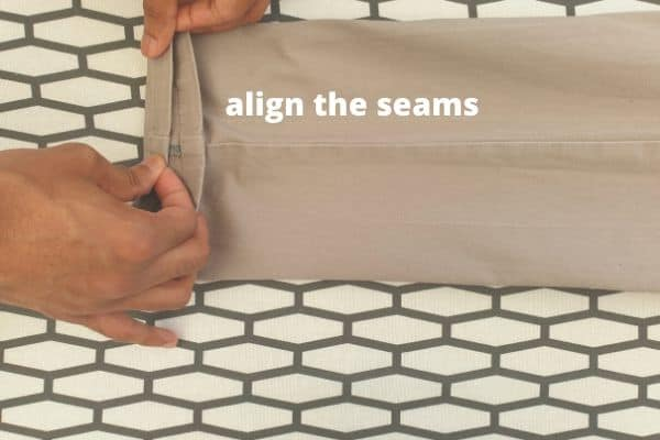 how to align seams before ironing creases