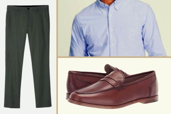 Blue OCBD paired with olive chinos and brown leather loafers