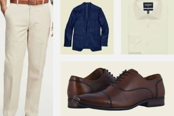 Navy blazer with stone chino and white dress partnered with brown oxford shoes