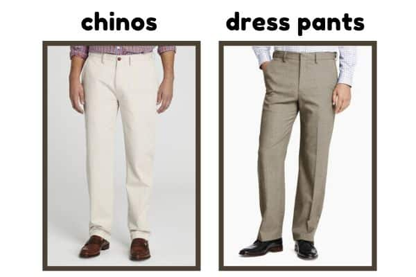 comparison between chino and dress pants