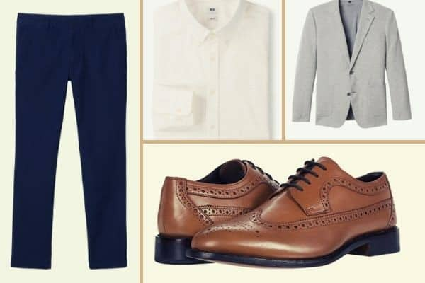 White OCBD and blue chinos with gray sports coat and brown derby shoes