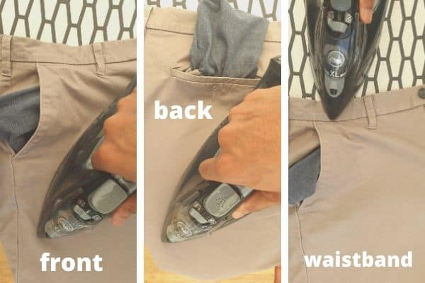 how to iron top of chinos