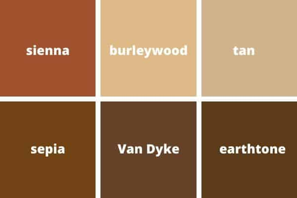 Different shades of brown