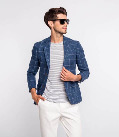 Tshirt with blazer partnered with a chino