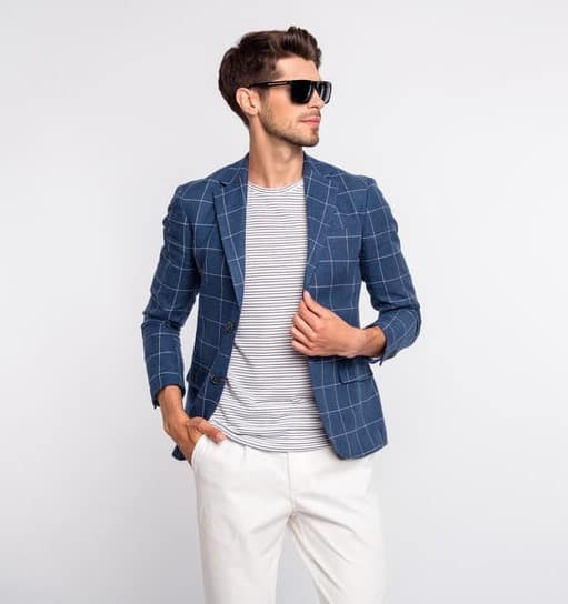 Blue blazer with tshirt and chinos