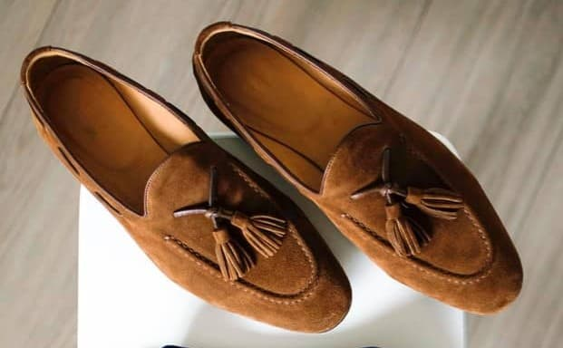 example of a brown suede tassel loafers