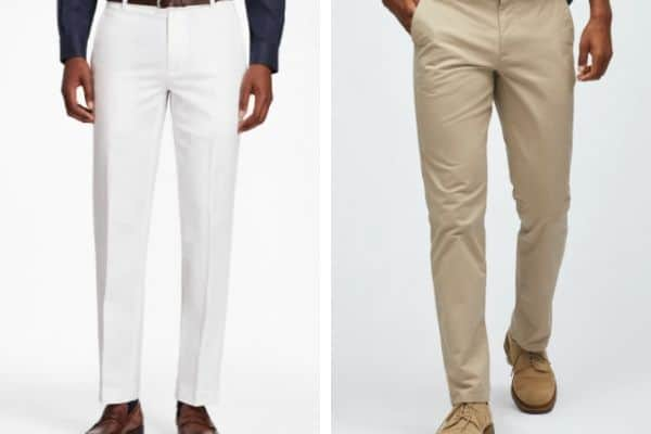 comparison of Brooks Brothers formal chinos and Bonobos casual chino