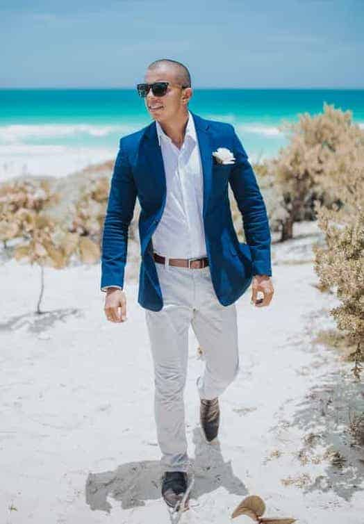 Example of a Beach attire - navy blazer with chinos