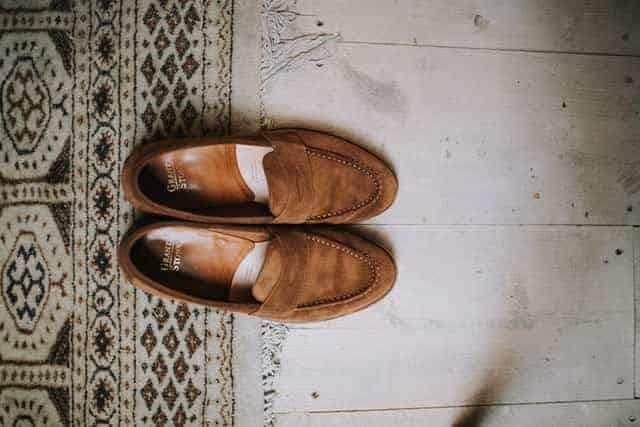example of suede penny loafers