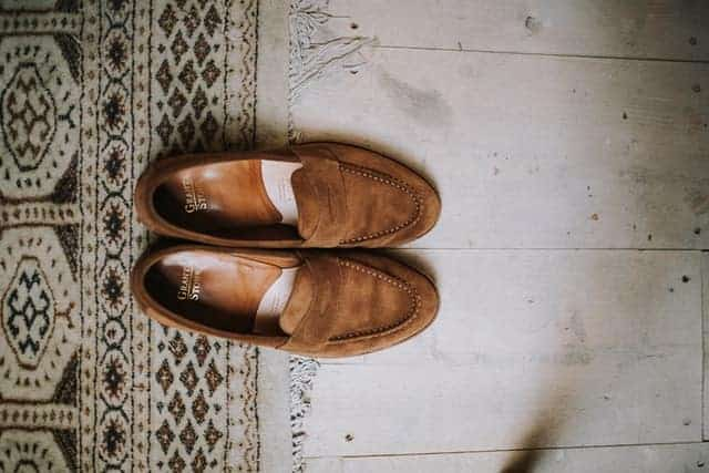 example of a brown suede penny loafers