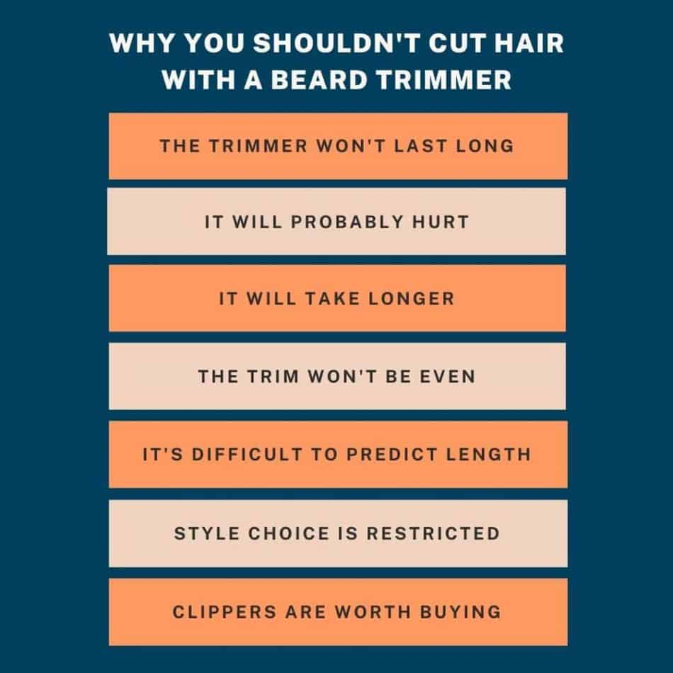 illustration explaining why you shouldn't cut hair with a beard trimmer