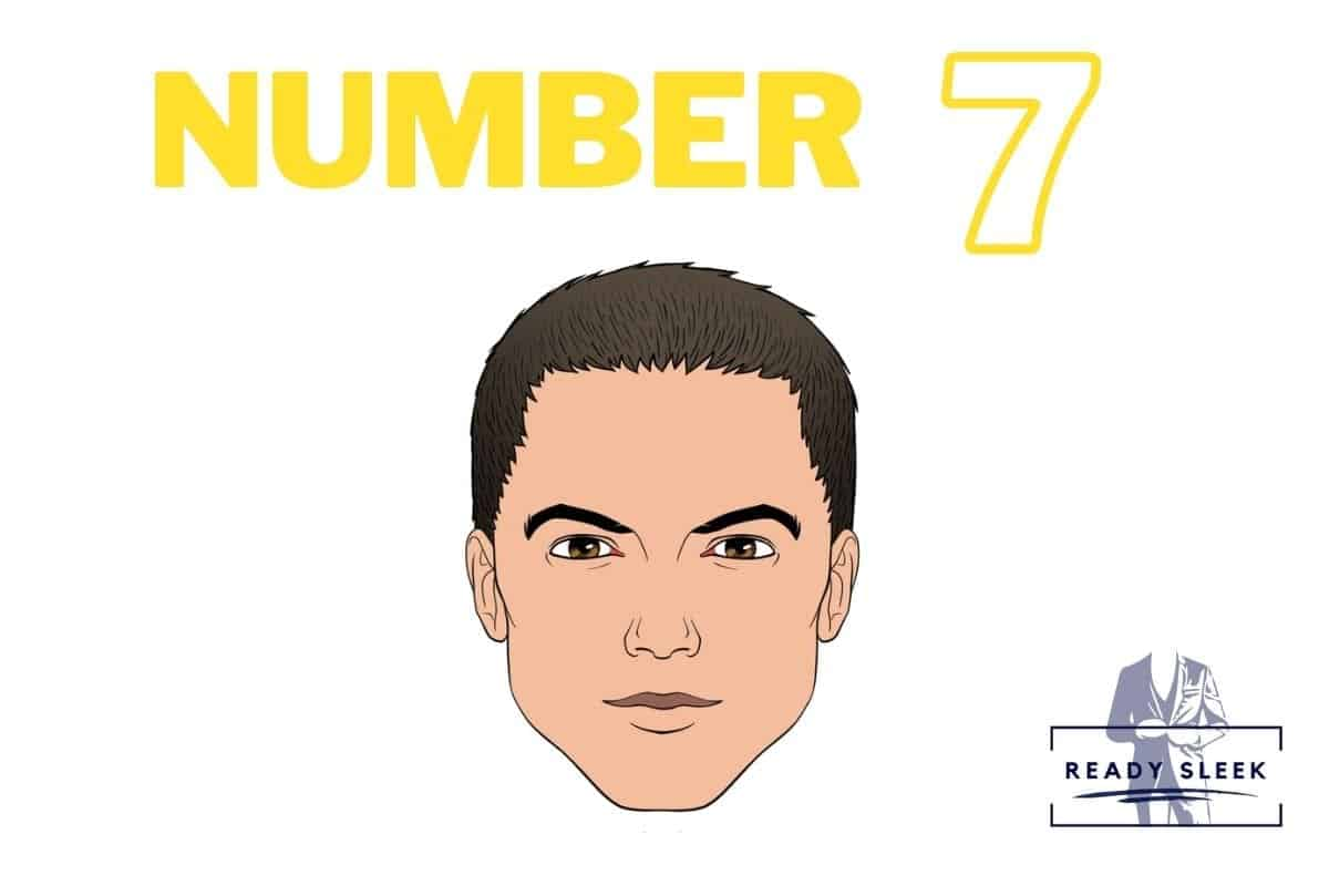 illustration of a #7 buzz cut
