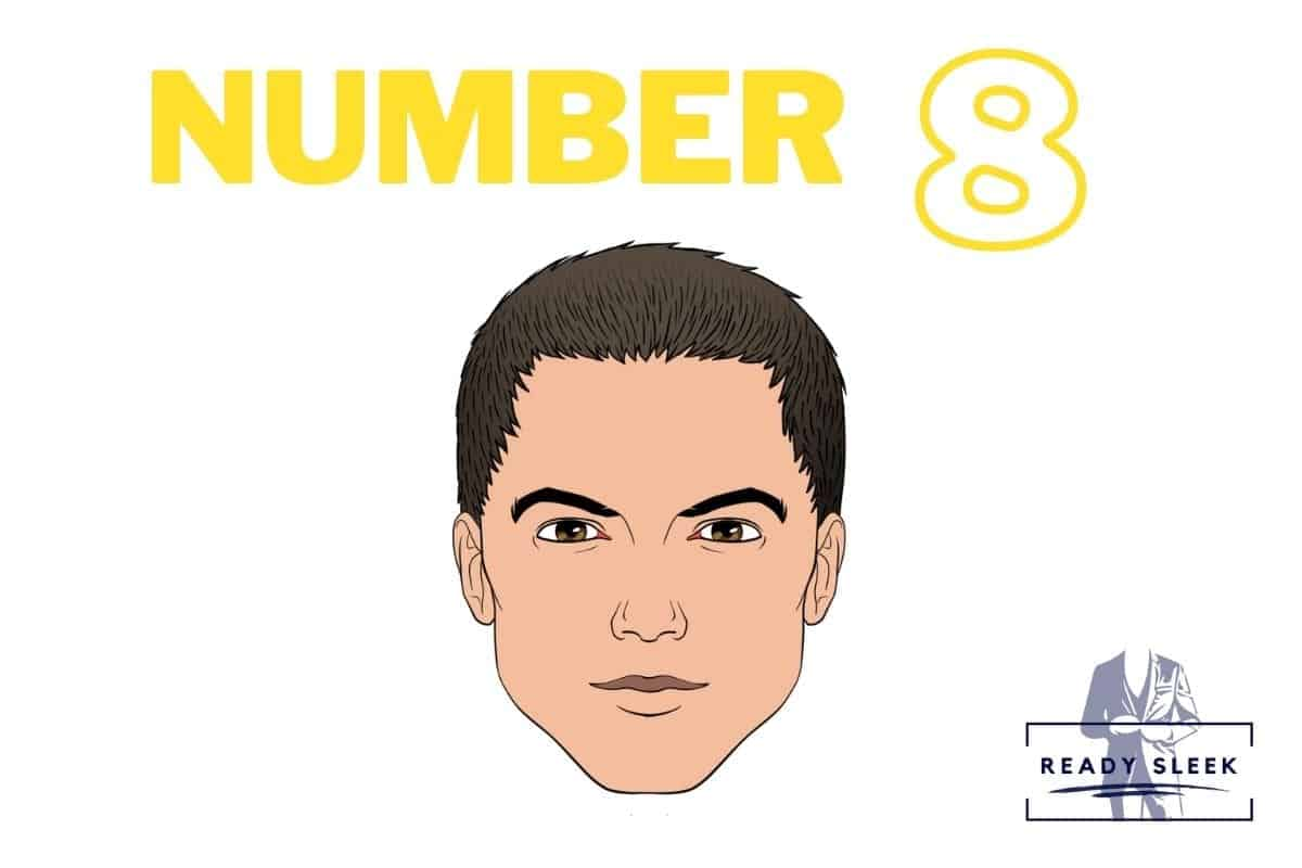 illustration of a #8 buzz cut