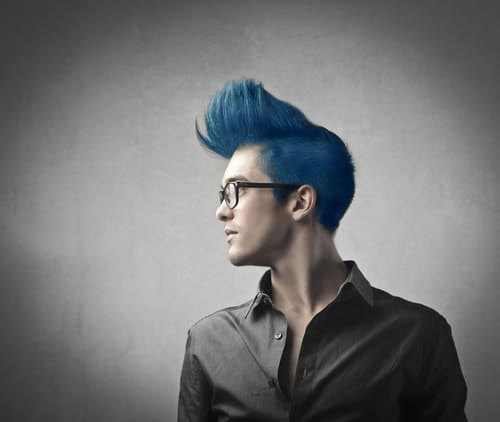 Example of a tall blue quiff
