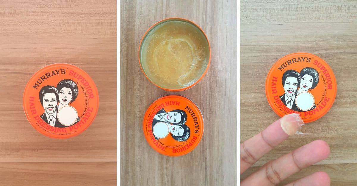 Murrays pomade packaging and consistency example
